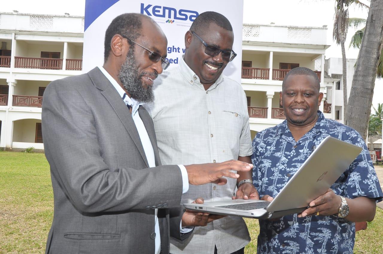 Prof Maina Muchara , KEMSA Board Director, Tom Wambua and KEMSA Chief Executive Officer Jonah Manjari during the KEMSA Board induction