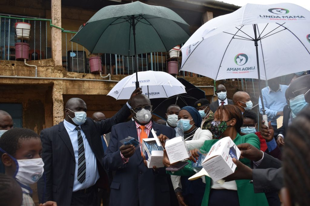 Education CS. Professor Magoha launched the distribution of reusable face masks to needy deserving children
